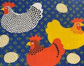 "Vintage ""Which Came First"" Tea Towel, Vintage Chicken or Egg Tea Towel, Existential Tea Towel, Chicken Print"