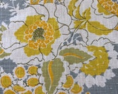 """Vintage 1980s Bassett McNab """"Chatsworth"""" Yellow and Gray Floral Linen Fabric Sample, Floral Linen Fabric Sample, 1980s Fabric Sample"""