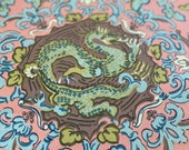 Vintage 1980s 5th Avenue Designs Dragon Fabric, Vintage 1980s Dragon Fabric, Vintage 1980s Chinoiserie, Vintage Dragon Fabric, Dragon Fabric