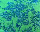"""Vintage 1960s S. M. Hexter Green Botanical """"Duchess"""" Fabric Sample from the Chateau Collection, S. M. Hexter Handprinted Floral Linen Fabric"""