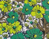 Vintage 1960s Chartreuse and Brown Floral Fabric, 1960s Flower Power Fabric, Vintage Flower Fabric