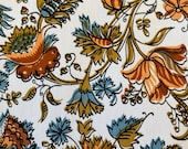 "Vintage 1960s David and Dash ""Richmond on Utopia"" Floral Fabric Sample, Vintage 1960s Floral Fabric, Vintage David & Dash Fabric"