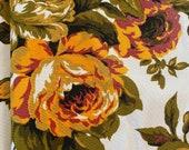 Vintage 1970s Orange Floral Café Curtains, 1970s Café Curtain Panels, 1970s Flower Power Curtains, Granny Chic Curtains
