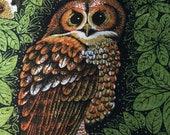 Vintage Owl Tea Towel Calendar