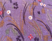 Vintage 1970s Plum Floral Polyester Fabric, 1970s Two-Way Stretch PLum Polyester Fabric, Polyester Floral Fabric