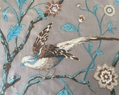 Vintage 1960s Jack Valentine Bird Fabric Sample, Bird Fabric Sample, Vintage Bird Fabric, Vitage Fabric
