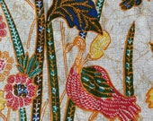 Vintage 1960s Indonesian Batik Fabric, Vintage Bird Batik, Handprinted Batik, Vintage Batik Fabric