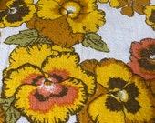 1960s Pansy Napkins, Vintage Pansy Napkins, Burnt Orange Napkins