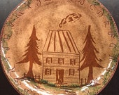 Vintage 1990 Becky Mummert Signed Redware ABC and Log Cabin Plate