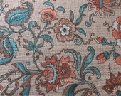 Vintage 1970s Floral Jersey Fabric, 1970s Polyester Fabric, Polyester Chinoiserie Fabric