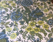 Vintage 1960s Linen Chartreuse Fabric Sample, Vintage 1960s Fabric, Vintage Floral Fabric Sample