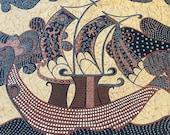 "Vintage 1974 S. M. Hexter ""Negara"" Fabric Sample, S. M. Hexter Fabric Sample, Vintage Ship Fabric, Vintage Fabric, Vintage Boat Fabric"