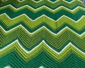 Vintage 1970s Chartreuse Afghan, 1970s Chartreuse Chevron Afghan, Vintage Twin Sized Blanket, Vintage Afghan, Chartreuse Afghan