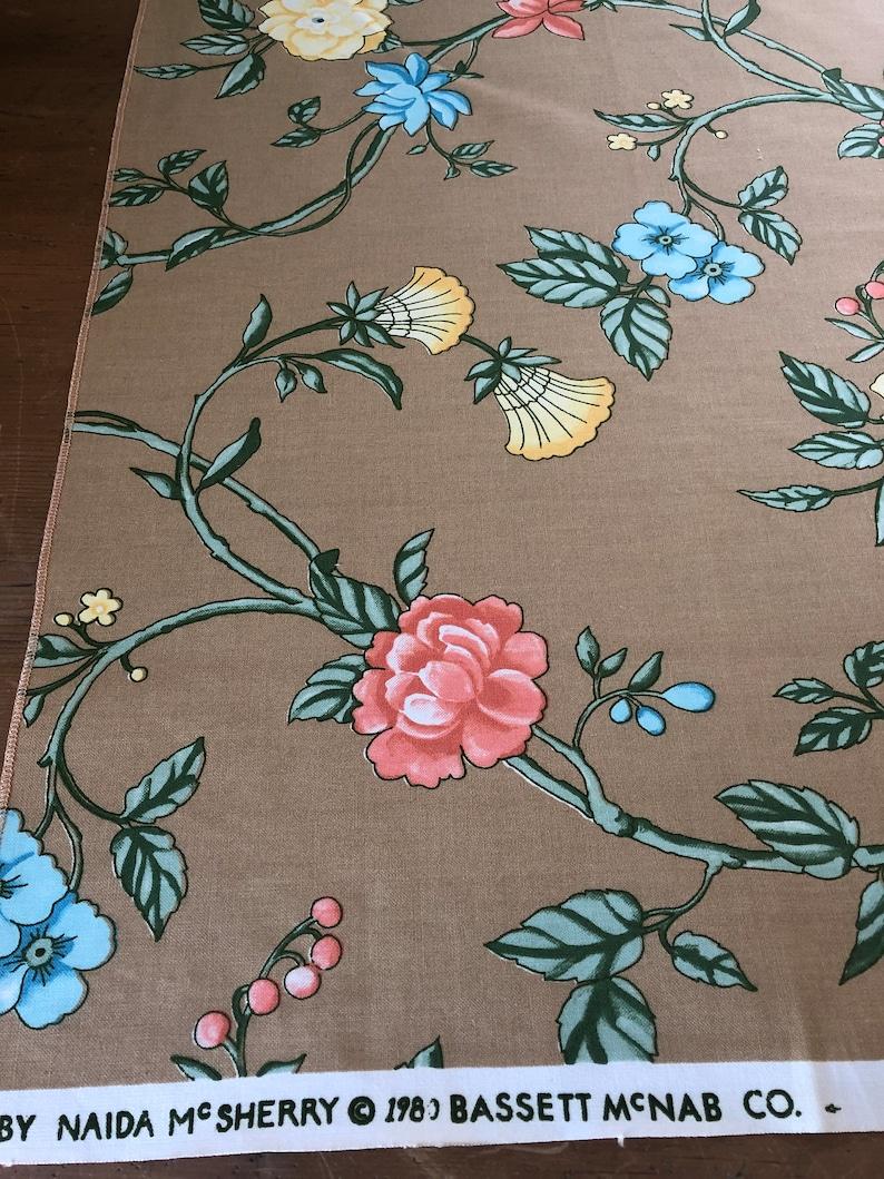 Vintage Naida McSherry Fabric Vintage Printemps fabric by Naida McSherry Vintage 1980 Printemps Bassett McNab Fabric Sample