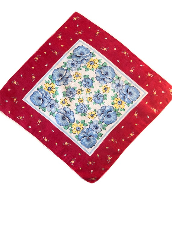 Vintage 1930s Pansy Handkerchief, 1930s Pansy Hand