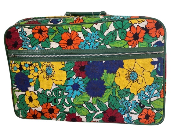 Vintage 1970s Flower Power Luggage, 1970s Floral P
