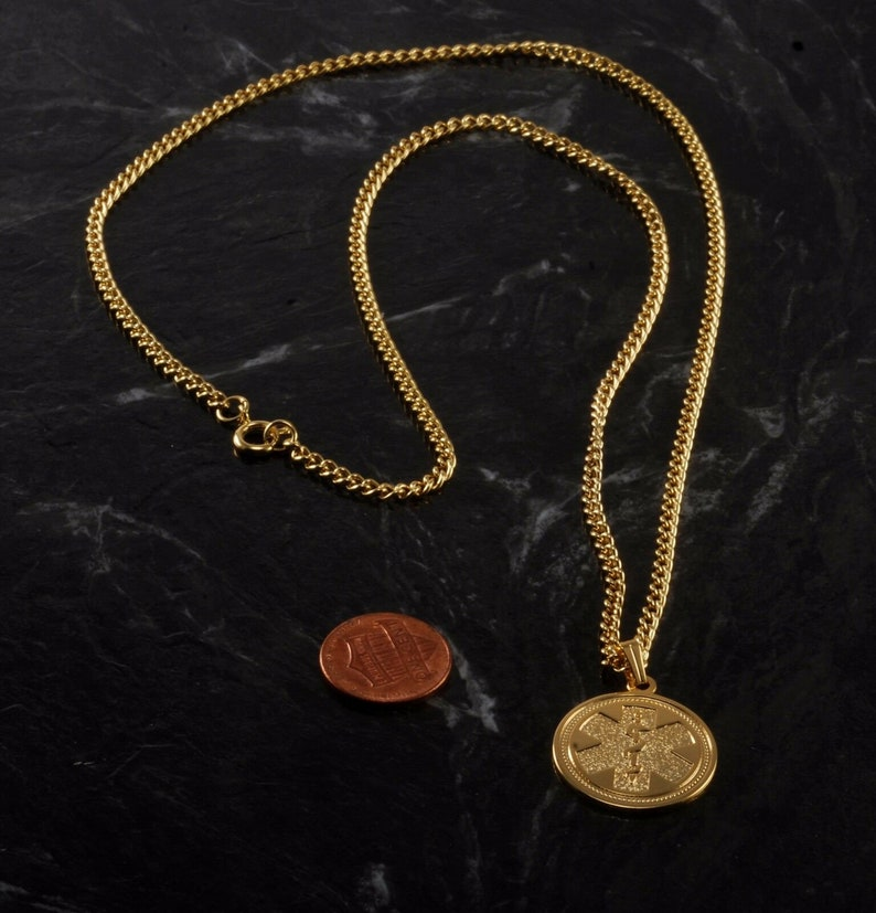 Vintage Medical Alert Necklace Gold Tone Metal Medical Condition Jewelry