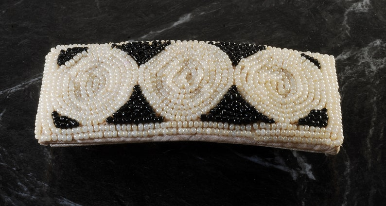 Vintage Hair Barrette Seed Bead White Black Snap Clasp Hair Accessory