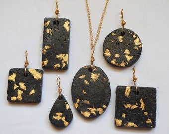 Concrete Necklace, Cement Necklace, Cement with gold leafing, Modern Jewelry, Concrete Jewelry