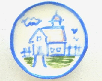 Country Style miniature ceramic plate - Barn