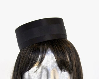 Pillbox Hat in Black- Classic Cigarette Girl Costume - Usher or Bellhop available w/ Gold or Silver trim OVAL