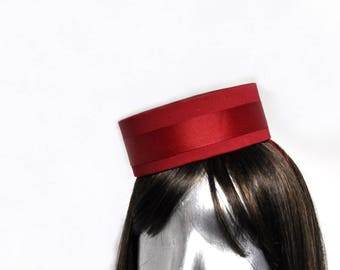 Pillbox Hat in Red -  Classic Cigarette Girl or Usher or Bellhop with your choice of trim
