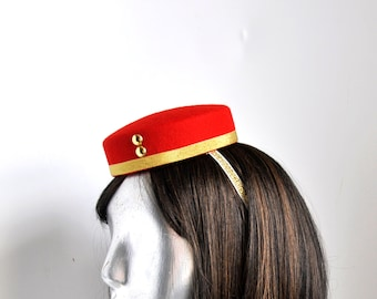 Cigarette Girl - Bellhop Pillbox hat - Red Wool Felt with Gold or Silver- Round & short