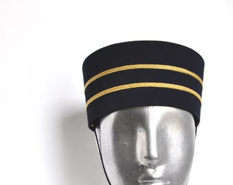 Bellhop - Usher Hat - in Black or Navy with Gold or Silver- Fits head size