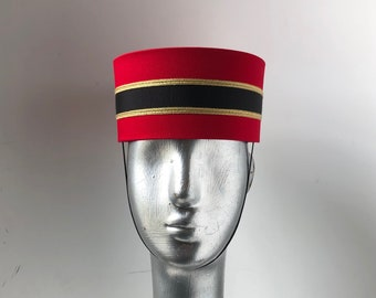 Bellhop - Usher Hat - in Red / dark red/ Burgundy / wine custom made to size with Black & Gold trim or Silver trim