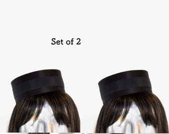 Set of 2 Pillbox Hat in Black- Classic Cigarette Girl Costume - Usher or Bellhop Gold or Silver trim available