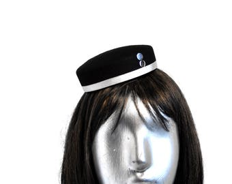 Cigarette Girl - Bellhop Pillbox hat - Black Wool Felt with Gold or Silver or Red -  Round & short