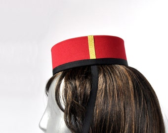 Pillbox Hat in Red - Classic  Bellhop  or Usher or Cigarette Girl with Black & gold trim OVAL 3 shades of red, Blue or Black