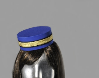 Pillbox Hat in Blue - Classic Usher Bellhop or Cigarette Girl Costume