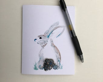 Hop to It: Sparkled Bunny Rabbit Single Blank Greeting Card Easter, Birthday, Mothers Day