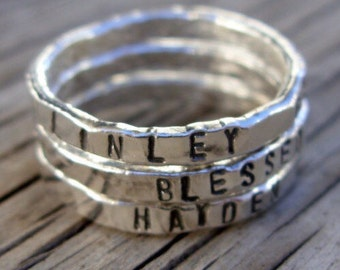 Personalized ring ONE womens silver stackable stacking ring, hand stamped fine silver, hand made custom moms jewelry gift pebbleandore