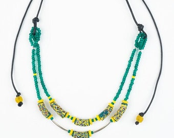 Double-stranded recycled glass and sterling necklace