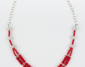 Red and White Recycled Glass Necklace
