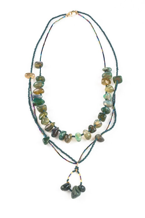 2 strand beaded Western Southwest resort boutique Teal Agate Necklace: multi strand organic green agate with turquoise Sundance