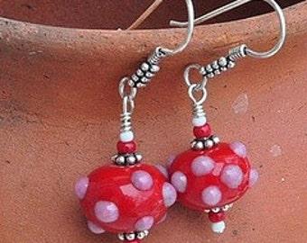 Red Bumpy Lampworked earrings