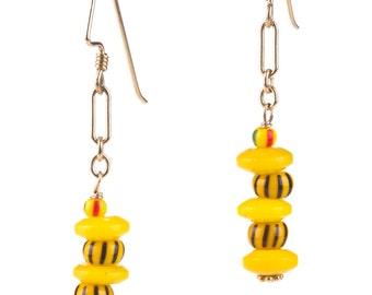 Yellow Dogon and Trade Bead Dangles