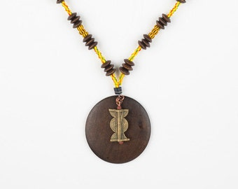 Trade Bead and Wood Necklace