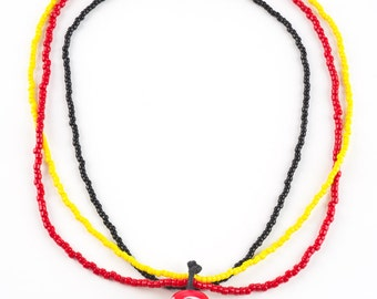 Red, White and Yellow - Seed Bead Pendant Necklace