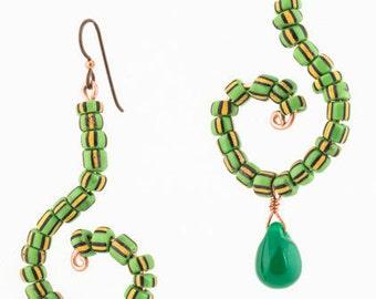 Green melon bead and Fulani wedding bead earrings
