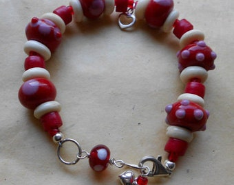 Red Coral and Lampworked Bracelet