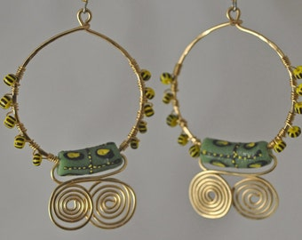 Sandcast Recycled Glass Wire Wrapped Hoops