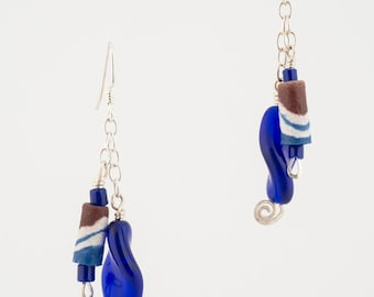 African Recycled Glass Double Dangle Earrings
