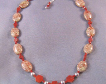 Red and Autumn Jasper Necklace