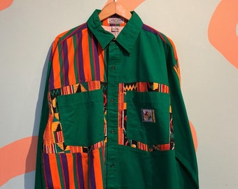 4215c536f21 Vintage 80s Giovanni L Uomo Color Block Long Sleeve Button Up Cross Colours  In Living Color Hip Hop Wild Green