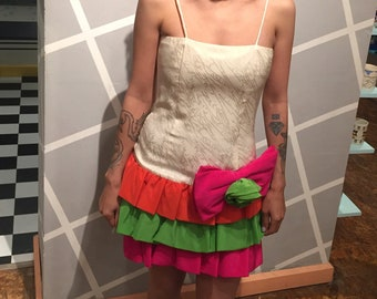 1deec459607 Vintage 80s SILK PROM DRESS    Corset    Drop Waist    Spaghetti Strap     Ruffles    Off White Pink Orange Lime Green