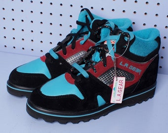Deadstock 90s LA GEAR Women's Chunky Turquoise High Top Suede and Metallic Hiking Sneakers SIZE 8 1/2